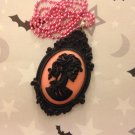 Black and Pink Lady Skull Cameo Necklace