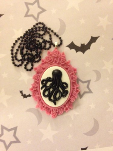 Black and Pink Octopus Cameo Necklace