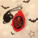 Red and Black Octopus Cameo Necklace