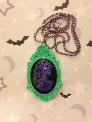 Purple and Green Lady Skull Cameo Necklace