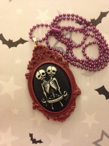 White and Burgundy Skeleton Twins Cameo Necklace