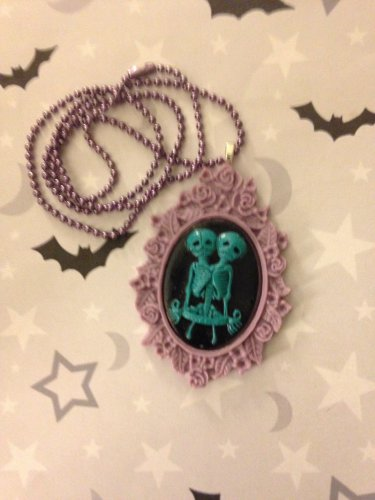 Turquoise and Purple Skeleton Twins Cameo Necklace