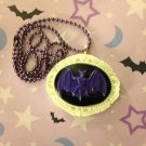 Purple and White Bat Cameo Necklace