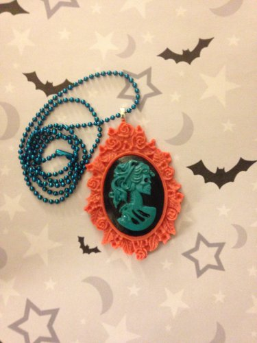 Pink and Turquoise Skull Lady Cameo Necklace