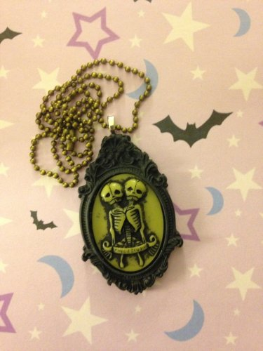 Black Skeleton Twins Cameo Necklace