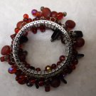 Silver Wristlet Bracelet Adorned with Multi-faceted Red stones & beads