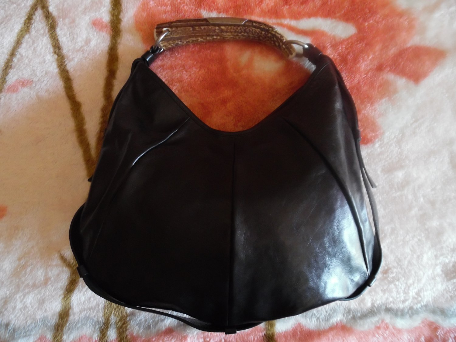YVES SAINT LAURENT (YSL) Black Leather Mombasa Horn Shoulder Hobo Handbag