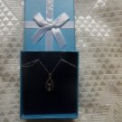 Diamond Shimmering Stars Teardrop Sterling Silver Lace Chain Necklace