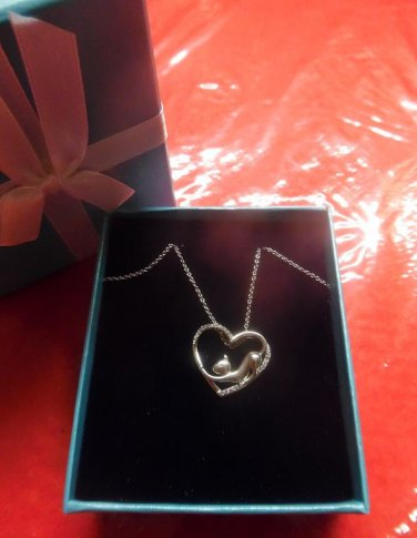ASPCA Tender Voices Diamond 1/10CTTW Sterling Silver Stretching Cat Heart Cable Necklace