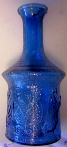 Blue Glass embossed, Greek bottle or decanter