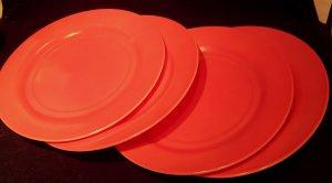 Hazel Atlas 'Ovide' glassware pink/peach dinner plates