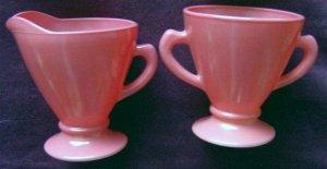 Hazel Atlas 'Ovide' glassware pink/peach cream and sugar