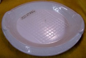 "Late 1800s Atterbury milk glass tray/platter with ""Give Us This Day Our Daily Bread"""