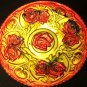 Large 'Goofus' glass bowl with platter gold with red roses.