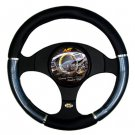 Wheel Cover Non Slip New Black Chrome Carbon Design Universal Fit Steering