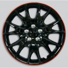 Black Red Lip Wheel Covers Hub Caps Easy Installation High Quality Full Set