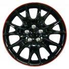"Retention Ring Installation New Black Red Lip Wheel Cover 15"" Full Set Of 4"