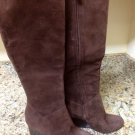 COLE HAAN Cora Boots NikeAir Tall Brown Suede Leather Wedge Boot Sz 5.5 $398 NEW
