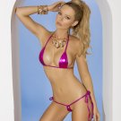 2pc Hot Pink Lamé Top & Matching G-String - One Size
