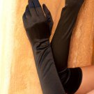 Black Opera length satin gloves