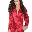 Red Charmeuse Satin Long Sleeve Sleep Shirt - Medium