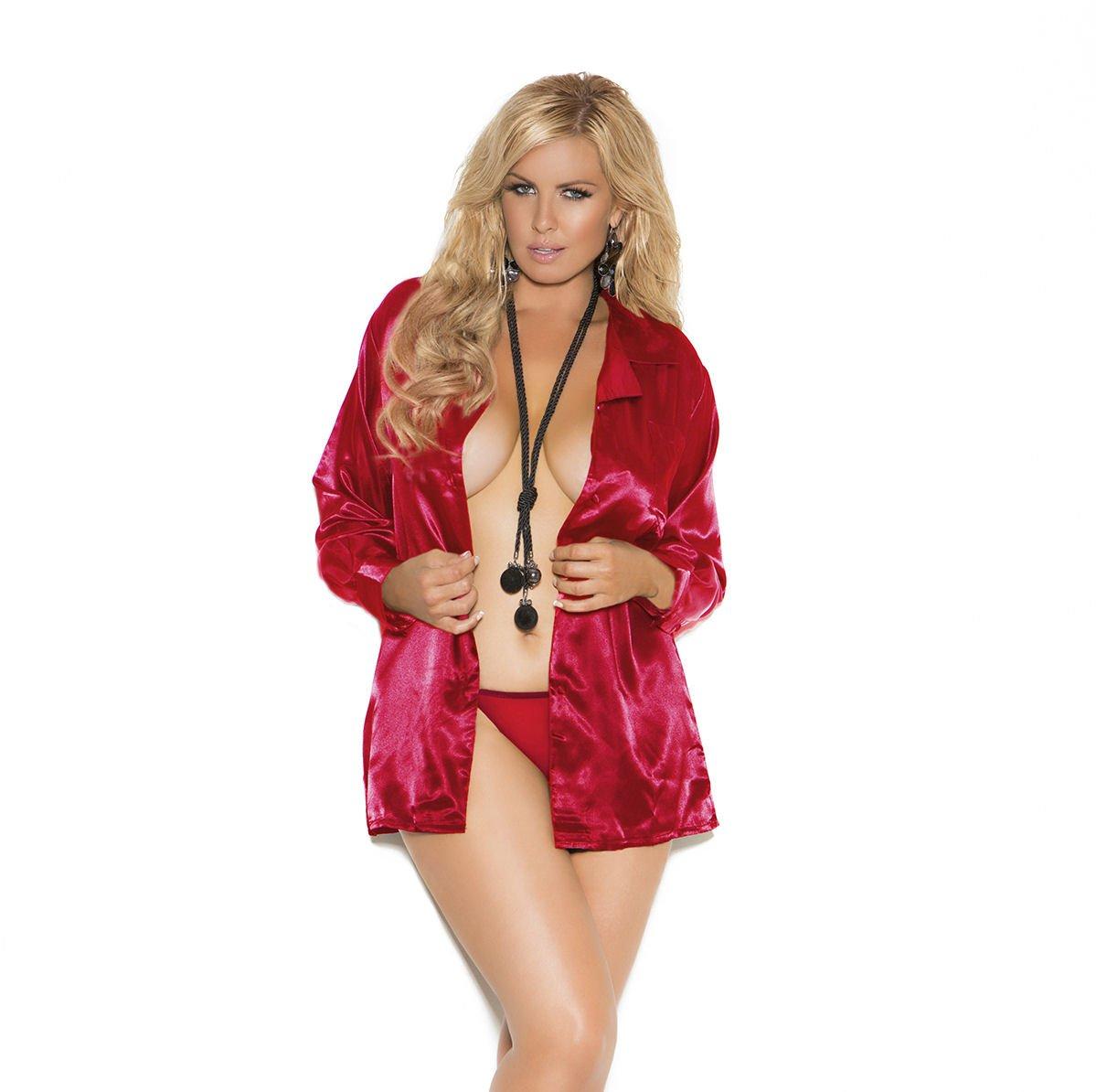 Red Charmeuse Satin Long Sleeve Sleep Shirt - 1X