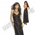 Black Charmeuse Satin Halter Neck Gown - Large