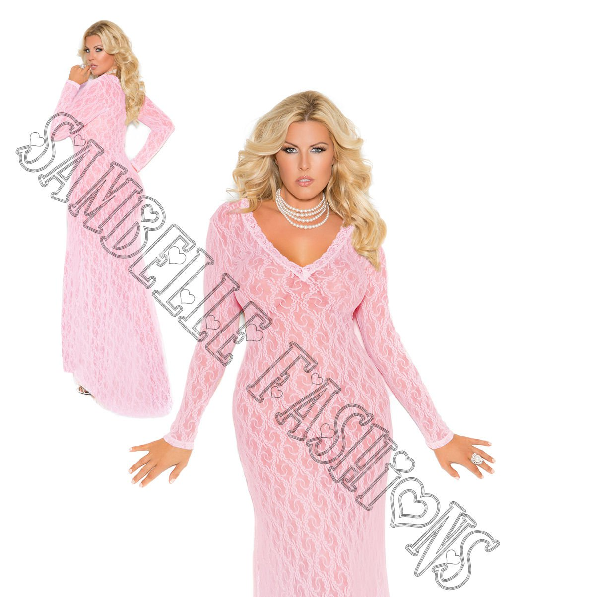 Baby Pink Long Sleeve Lace Gown - 2X