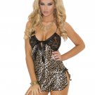 Leopard Print Chemise w/ Lace Cups & Satin Front Bow Closure - Small