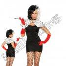 6pc Sexy Dog Napper Cruella De Vil Costume - Small