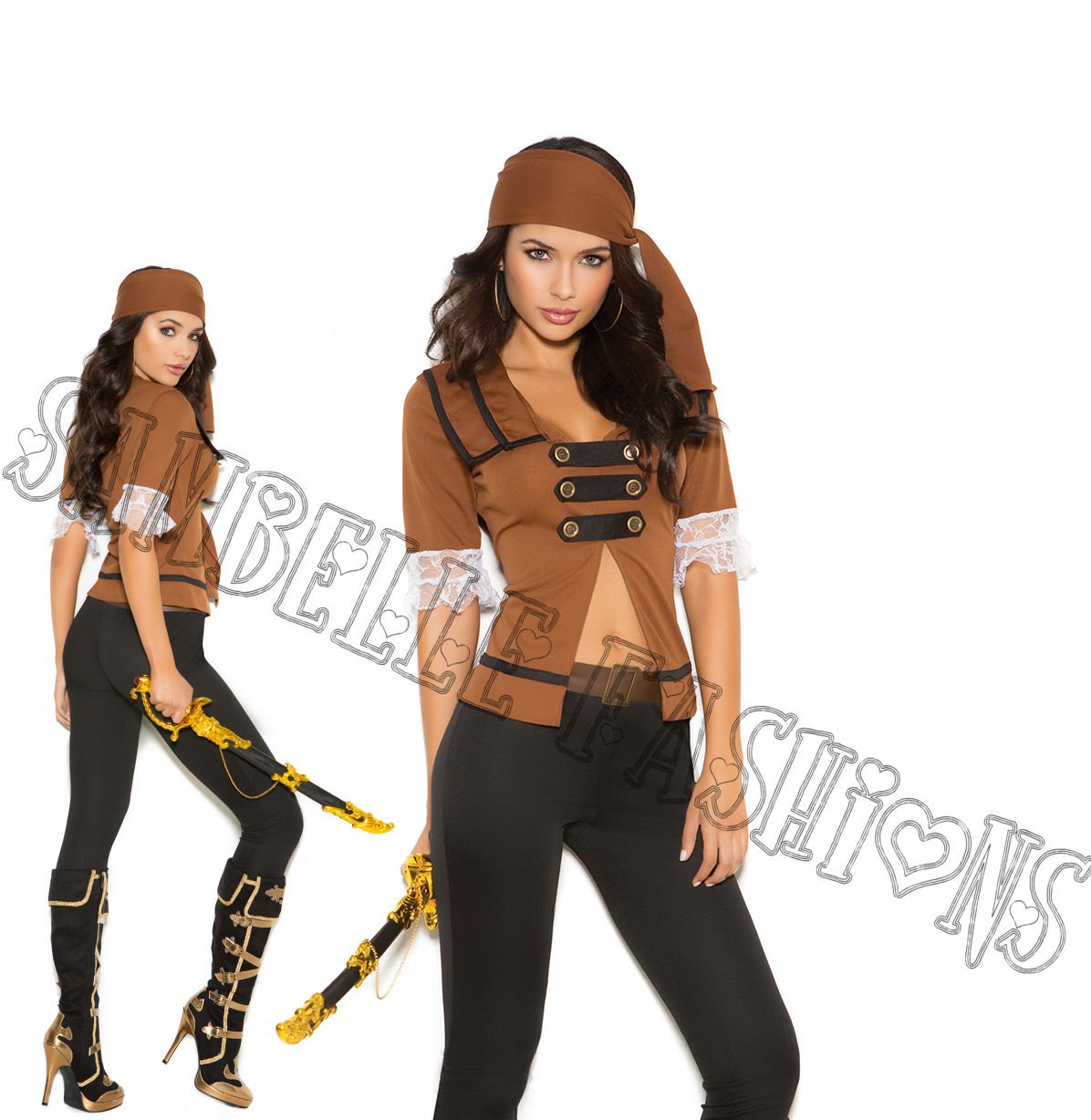 5pc Treasure Pirate Costume - Medium