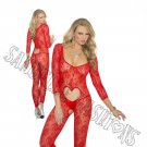 Red Valentine Heart Long Sleeve Footless Lace Bodystocking - One Size