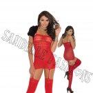 Red Valentine Heart Opaque Suspender Bodystocking - One Size