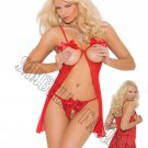 2pc Red Mesh Cupless Babydoll & Crotchless G-String - Large