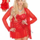 3pc Red Lace Baby Doll w/ Matching Long Sleeve Jacket & G-string - Small