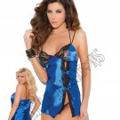 2pc Royal Blue Charmeuse Baby Doll & G-string - Small
