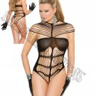 Black Crochet Strappy Teddy Lingerie - One Size