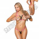 2pc- Neon Pink Lycra Bikini Top & Matching G-String w/ Zippers - One Size