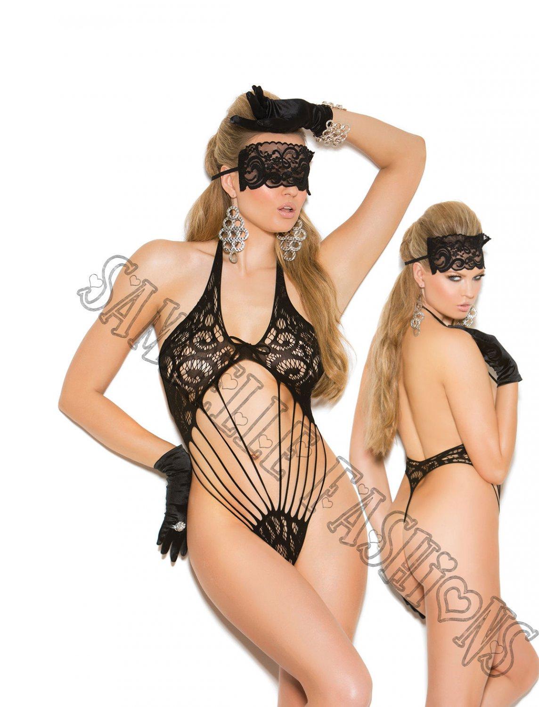 2pc - Black Lace Teddy & Matching Eye Mask - One Size