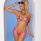 2pc Neon Pink Lycra Bikini Top & Matching G-String w/ Blue Trim - One Size
