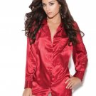 Red Charmeuse Satin Long Sleeve Sleep Shirt - Large