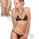 2pc Leather String Bra Top & G-String - One Size