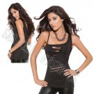 Black One Shoulder Tank Top w/ Cut Out Panel Front - Small