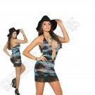 Opaque Tie Dye Halter Neck Mini Dress w/ Fringe Trim - One Size