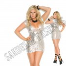 Silver Cut Out  Lamé Deep V Short Sleeve Mini Dress - 1X