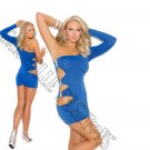 Blue One Shoulder Mini Dress w/ Side Cutouts & Silver Gem Stones - Medium