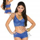 2pc Royal Blue Stretch Lace Booty Shorts & Camisole w/Bows - Large