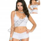 2pc White Stretch Lace Booty Shorts & Camisole w/Bows - Small