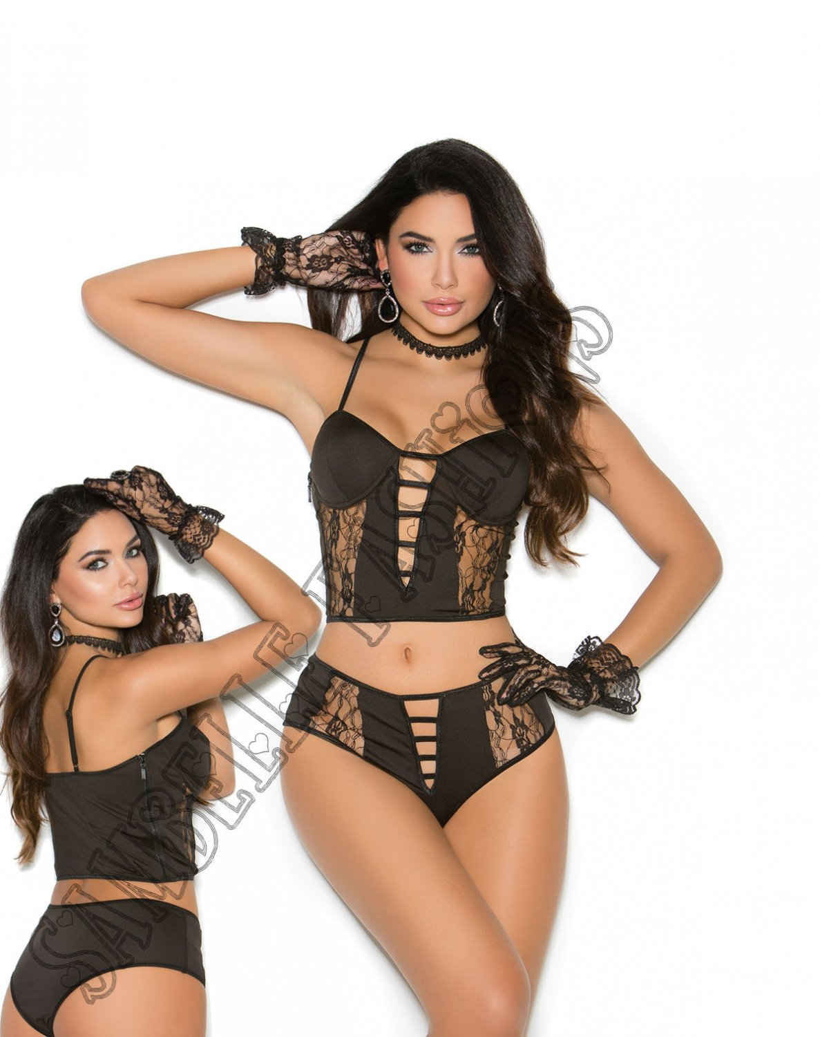 3pc Black Underwire Bralette w/ Lace Inserts, Lace Gloves & Matching Booty Shorts  - Large
