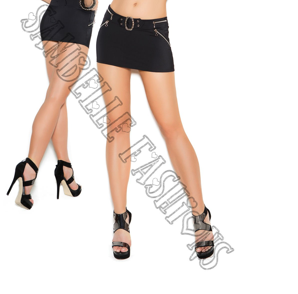 Black Lycra Mini Skirt w/ Buckle & Zippers - 2X